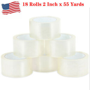 Us 18 Rolls 2 Inch X 55 Yards 165 Ft Clear Carton Sealing Packing Package Tape