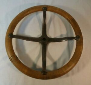 Antique Wooden Steering Wheel Wood Vintage T902