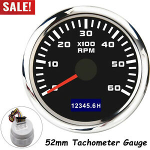 52mm Car Boat Marine Tachometer Tacho Gauge W Hourmeter 0 6000rpm Waterproof