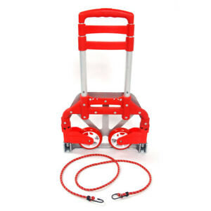 Red Aluminium Collapsible Push Hand Truck Foldable Trolley Luggage Cart