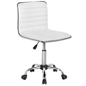 Swivel Armless Office Chair Low Back Leather Desk Chair Ribbed Task Chair Used