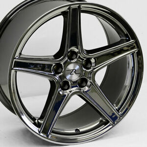 18 Black Chrome 94 04 Mustang Saleen Style Wheels 18x9 18x10 5x114 3 Sn95