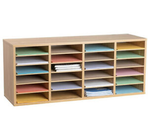 Adiroffice Medium Oak 24 Literature Organizer W Adjustable Shelves 500 24 meo