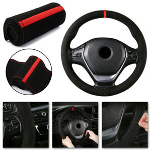 Car Steering Wheel Cover Protector Suede Black And Red Black Anti slip Suitable