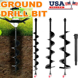 4 6 8 Earth Auger Drill Bits Set extension Bar For 52cc Gas Post Hole Digger