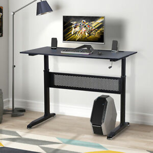 Height Adjustable Computer Desk W crank Handle Study Writing Table Home Office