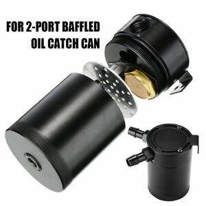 Universal 2 Port Oil Catch Can With Baffle Petrol Diesel Turbo Tank Reservoir