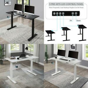 Electric Standing Desk 24 6 49 2 Height Adjustable Computer Table White black
