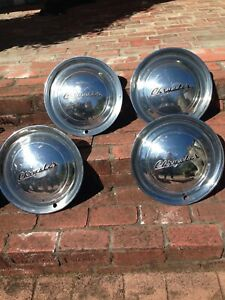 1949 Chrysler Windsor Sarstoga 4 Hubcaps Wheel Covers Vintage Classic