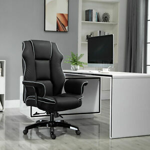 Padded High back Computer Office Gaming Chair Black Vinsetto Piped Pu Leather