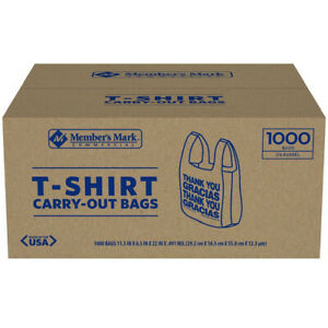 T shirt Thank You Plastic Grocery Store Shopping Carry Out Bag 1000ct