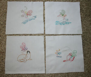 Vintage 13 Hand Embroidery Nautical Ocean Fairies Cotton Quilt Square Blocks