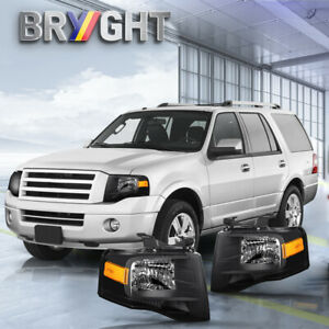 For 2007 2014 Ford Expedition Black Housing U324 Replacement Headlights Sets