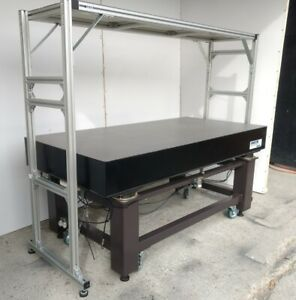Crated 35 5 X 71 Optical Table Pneumatic Isolation Overhead Shelf Casters