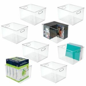 Mdesign Plastic Storage Bin With Handles For Home Office 8 Pack Clear
