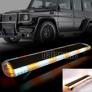 48 88 Led Amber White Strobe Light Bar Emergency Beacon Warn Truck Roof Top