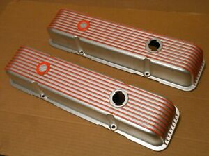 1960s Vintage 40 2300 Cal Custom 9 Fin Small Block Chevrolet Valve Covers Sbc