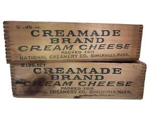 2 Vintage Wooden Creamade Brand Cream Cheese Boxes Dovetailed Joints Nice Pair