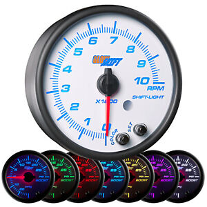 95mm White 7 Color 3 3 4 In Dash Tachometer Gauge W Shift Light Gs w716