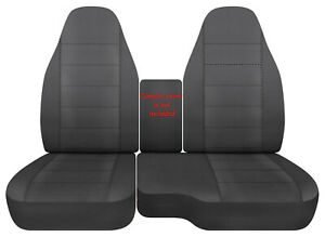 Car Seat Covers Cotton Solid Charcoal Fits 98 03 Ford Ranger 60 40 Highback