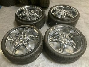 Gazario 782 Chrome 22 Four Wheel Rims And Tires 265 35 R22 Range Rover 5 Spoke