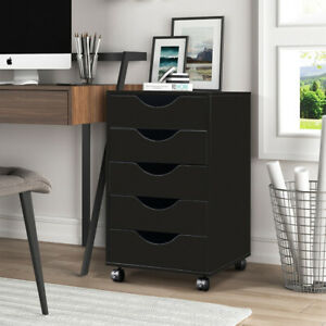 Mobile Storage Cabinet Chest Of Drawers Wood File Cabinet Makeup Table Black