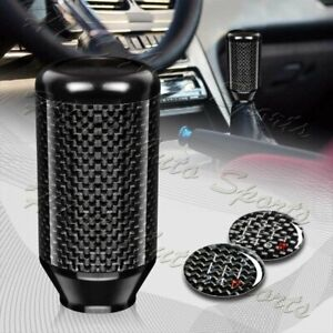 Universal Black 5 6 Speed Manual Aluminum Carbon Transmission Shift Shifter Knob