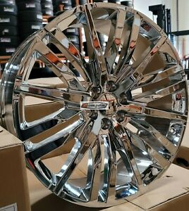 26 Gmc Replica Rims Chrome Wheels Tires Fit Tahoe Sierra Yukon Silverado G15