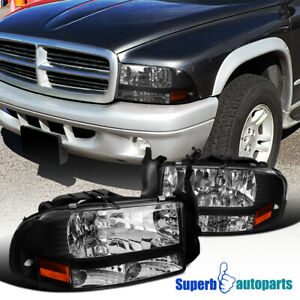 For Dodge 1997 2004 Dakota 1998 2003 Durango Black Headlights Bumper Corner Lamp