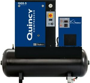 2021 Quincy Qgs 5 Rotary Screw Air Compressor 5 Hp With Dryer And 60 Gallon Tank