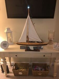 Vintage Large 24 Yacht Wooden Model Sailboat Hand Crafted Antique Nautical Boat