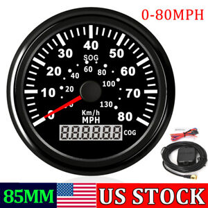 85mm Gps Speedometer Odometer Gauge Boat 0 80mph 130km H Car Truck Motorcycle Us