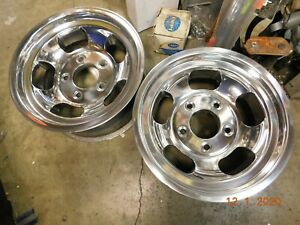 Vintage Polished 15x7 Slot Mag Wheels Ford Truck Jeep 70 S Van F 100 E 150 F 150