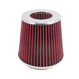 3 To 4 Round Tapered Universal Air Filter Intake Cone Chrome Car Truck Suv
