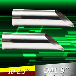Pair 2 5 Stainless Cowboy Exhaust Tips 2 1 2 Inlet 9 Long