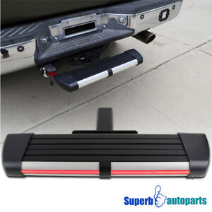 For 2 Receiver Black Sliver Aluminum Rear Hitch Step Bar W Led Brake Light