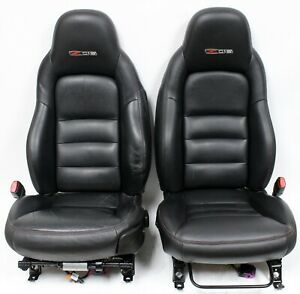 2006 C6 Corvette Z06 Ebony Black Leather Power Seats W Red Stitching Used Gm