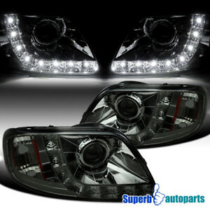 For 1997 2003 Ford F150 Expedition Smoke Projector Headlights W Led Lamps