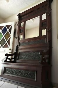 Antique Hall Tree Bench Old Vtg Victorian Carved Entry Seat Mirror Coat Rack