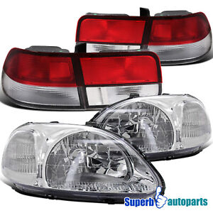For 1996 1998 Honda Civic 2dr Headlights Tail Lamps Red Replacement Pair
