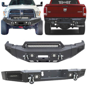 Vijay For 10 18 Dodge Ram 2500 3500 Front Rear Bumper With Led Light Winch Plate
