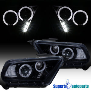 For 2010 2014 Ford Mustang Halo Projector Headlights Glossy Black Smoke
