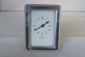 A Fine Vintage Sterling Silver Desk Top Clock By Kitney Co London 1994