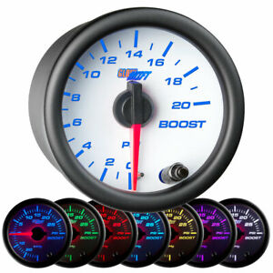 Glowshift White 7 Color 20 Psi Boost Only Gauge Kit 52mm 2 1 16