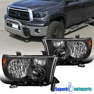 For 2007 2013 Toyota Tundra 08 17 Sequoia 12 14 Headlights Pair Lh rh Black