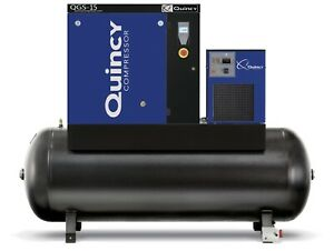 2020 Quincy Qgs 15 Rotary Screw Air Compressor 15 Hp W Dryer 120 Gallon Tank