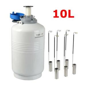 10l Liquid Nitrogen Tank Cryogenic Container Ln2 Dewar 6pcs Pails lock Cover