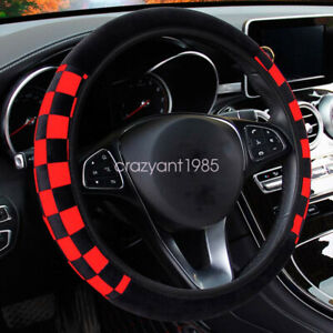 Stretchy Red Soft Plush Car Steering Wheel Cover Protector Auto Universal 15inch