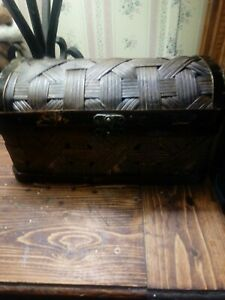 Vintage Large Wooden Hinged Treasure Chest Jewelry Trinket Box Woven Used 9x5