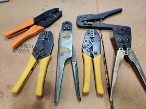 Lot Of 6 Hand Crimp Tools Ships Usps Priority Unknown Brand Amp Elco Burndy